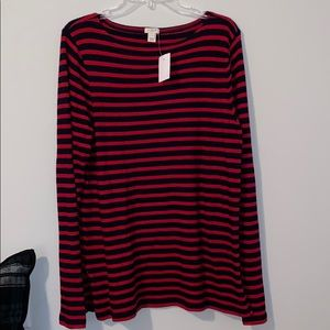 J Crew Navy and Red Stripe Top
